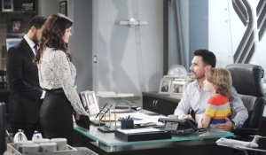 Katie and Will at Bill's office on Bold and Beautiful