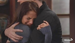 Lily and Cane embrace sobbing on Young and Restless