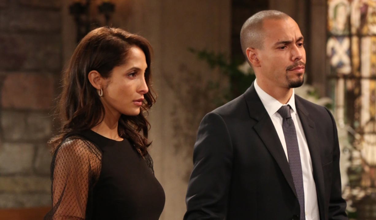 Lily and Devon at Neil's funeral on Young and Restless
