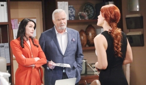 Quinn Sally Eric frowns on Bold and Beautiful