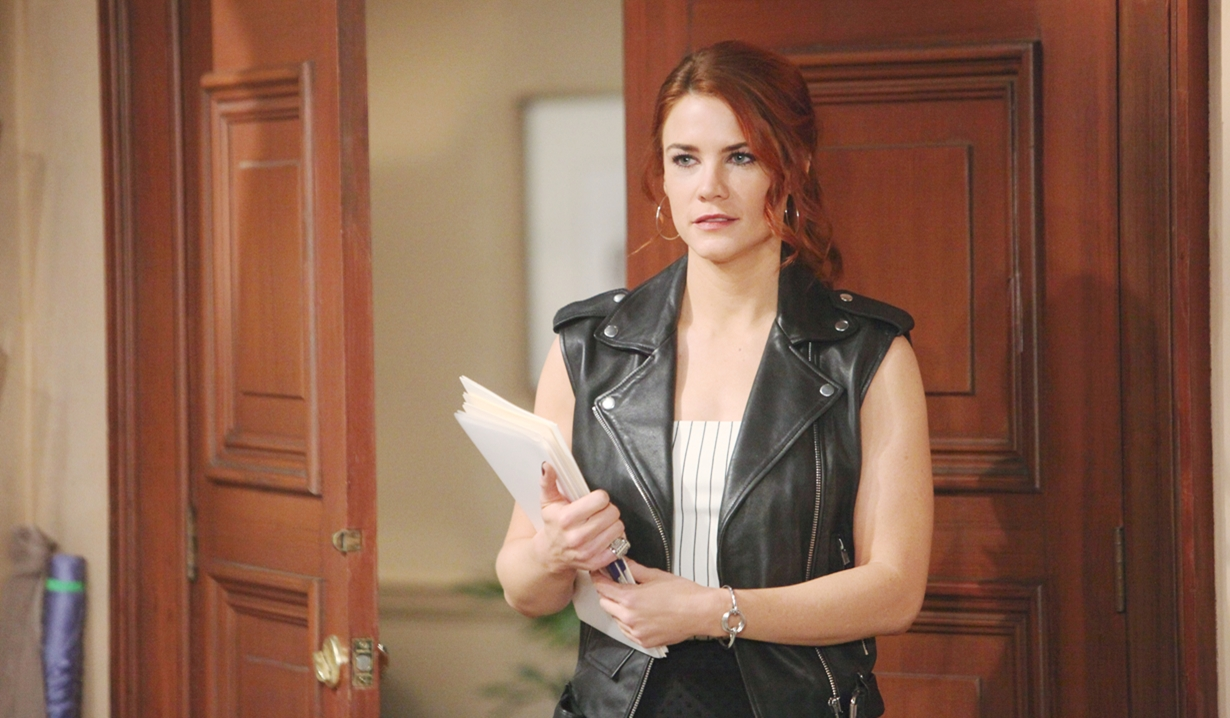 Sally enters the office on Bold and Beautiful