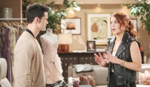 Sally warns Thomas in office on Bold and Beautiful