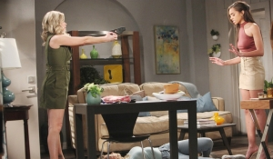 Shauna holds a gun on Zoe on Bold and Beautiful