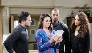 Stefan Chloe Eli Lani look at photos on Days of our Lives