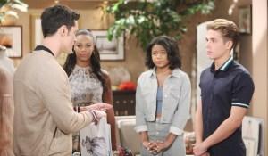 Thomas talks to interns Emma, Tiffany, Simon on Bold and Beautiful