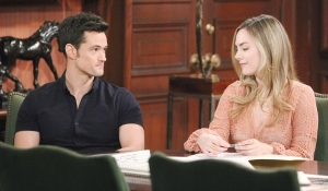Thomas and Hope in Forrester boardroom on Bold and Beautiful