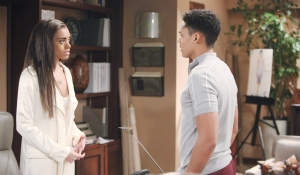 Zoe and Xander discuss Hope on Bold and Beautiful