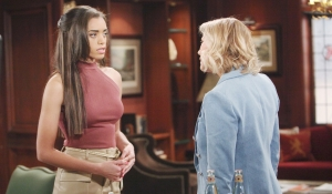 Zoe learns news from Brooke on Bold and Beautiful