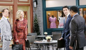 abe, ted, jack and eve talk in the square on days of our lives