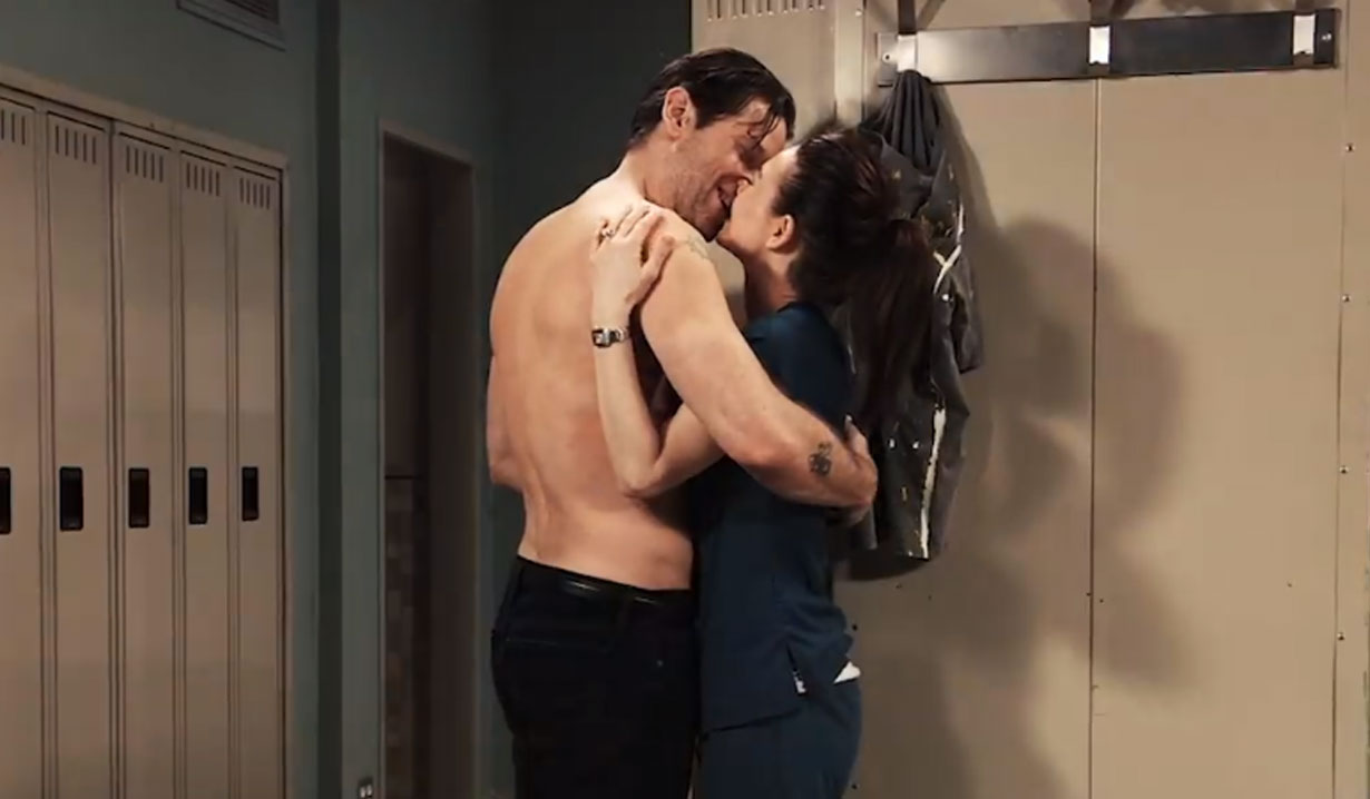 franco and liz kiss in locker room on general hospital