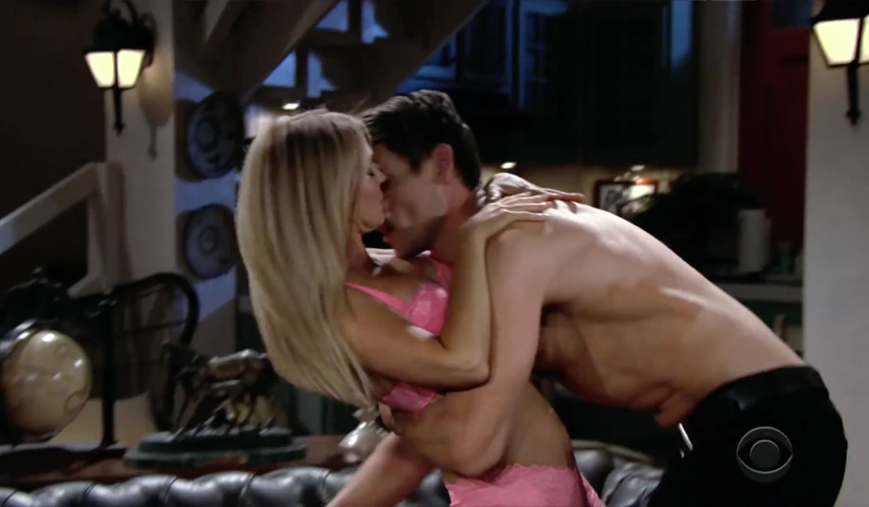 Adam kisses Sharon on Young and the Restless