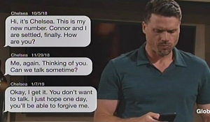 Chelsea texts Nick on Young and Restless