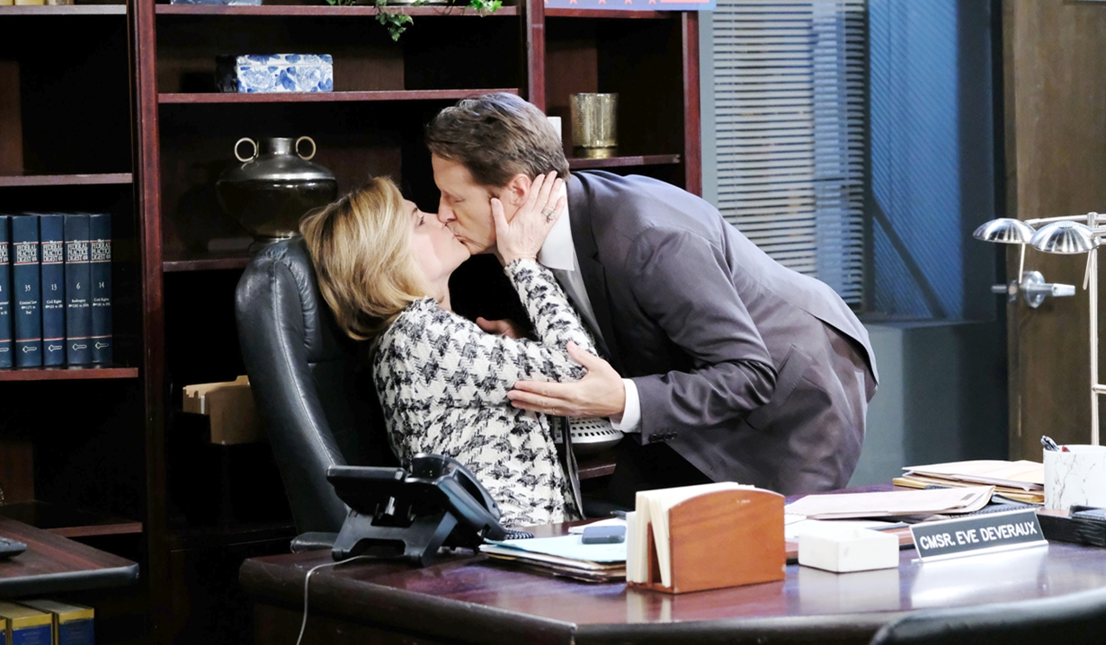 Eve and Jack kiss in office Days of our Lives