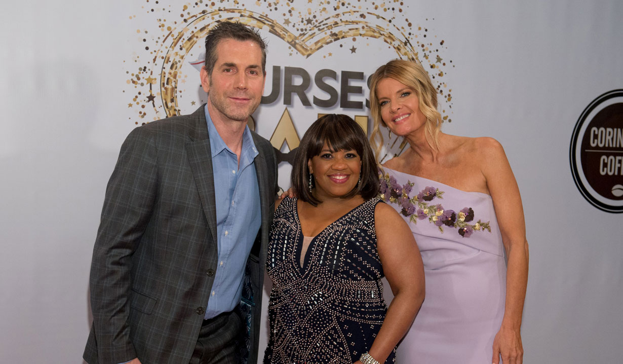 Frank Valentini, Michelle Stafford, Chandra Wilson 2019 General Hospital Nurses Ball