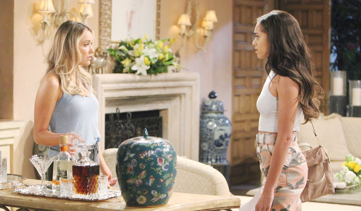 Flo and Zoe at the Forrester estate on Bold and Beautiful