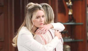 Flo looks guilty hugging Hope on Bold and Beautiful