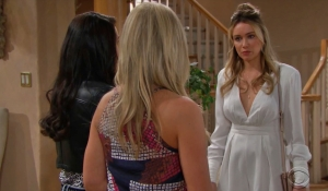 Quinn Shauna and Flo in the Forrester estate on Bold and Beautiful