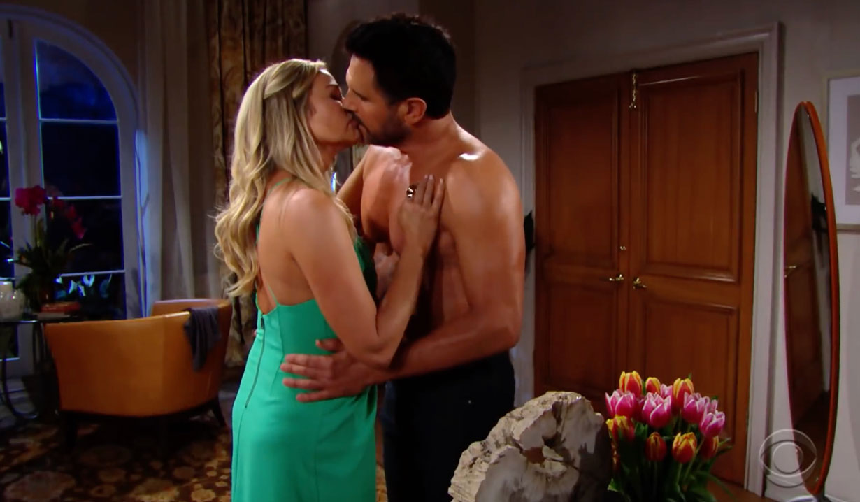 Shauna and Bill kiss on Bold and the Beautiful