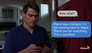 Adam sends a text The Young and the Restless