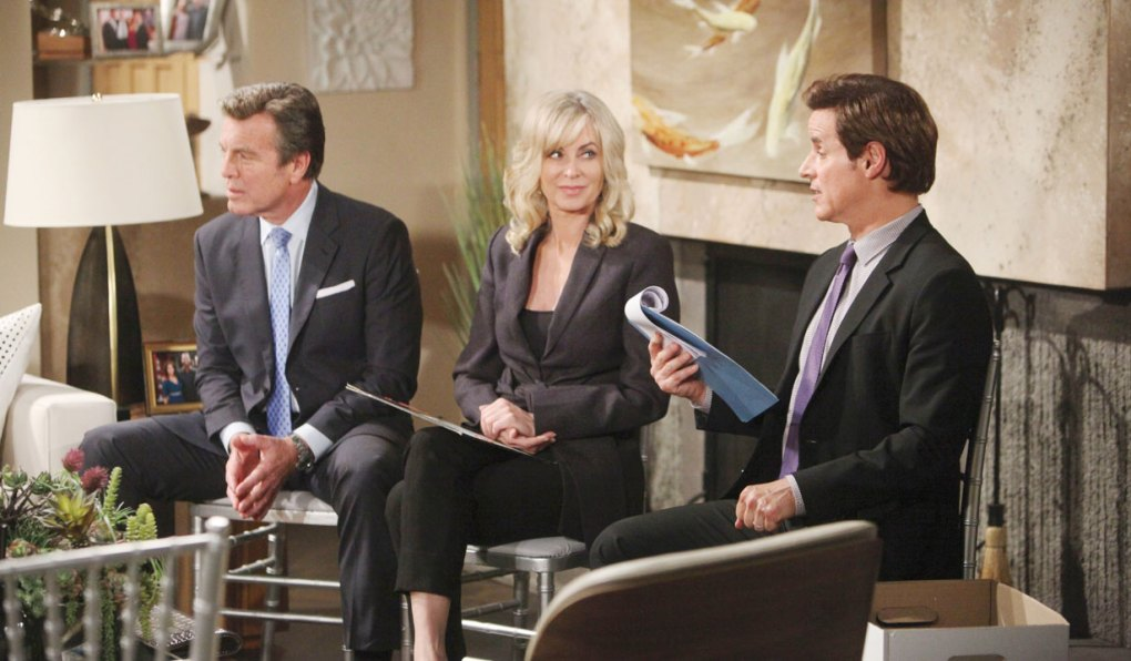 ashley, jack and michael read neil's will on young and restless