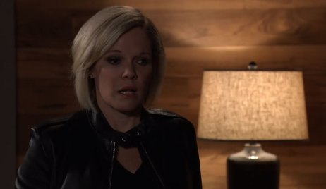 Ava looks frightened at cabin on General Hospital