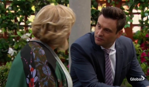 Traci and Cane talk in the garden The Young and the Restless