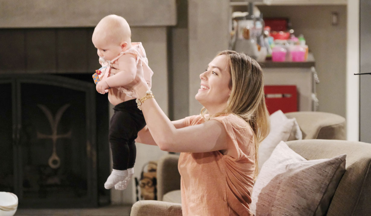 Photos of Hope visiting Steffy and Phoebe on Bold and Beautiful