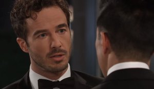 Lucas confronts Brad at the Nurses' Ball on General Hospital