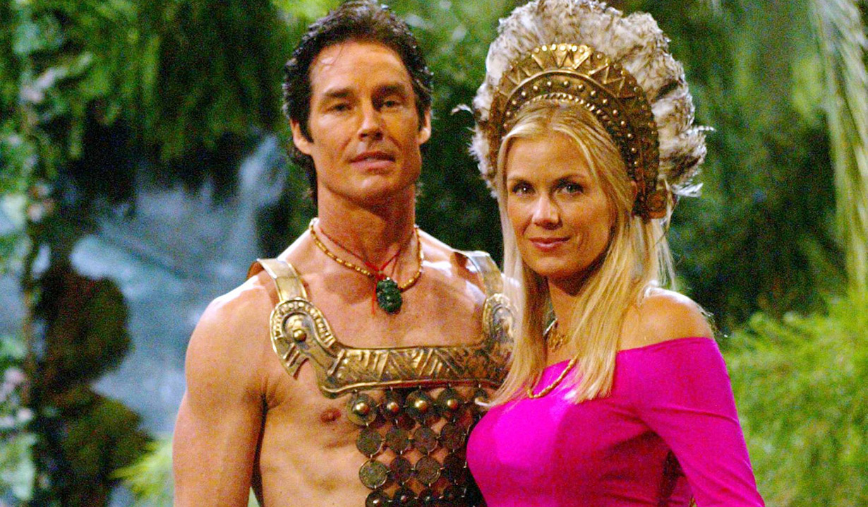 "Katherine Kelly Lang and Ronn Moss ""The Bold and the Beautiful"" Set CBS Television City 8/21/03 ©Aaron Montgomery/JPI 310-657-9661"