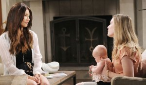 steffy talks to hope while she holds phoebe on bold and beautiful