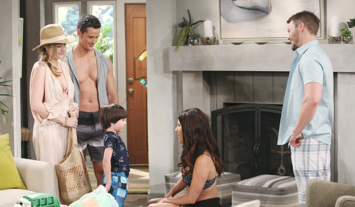 Hope, Thomas, and Douglas visit Liam and Steffy on Bold and Beautiful