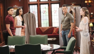 Xander, Xoe, Thomas and Hope at Forrester Creations on Bold and Beautiful
