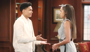 Xander and Zoe debate on Bold and Beautiful