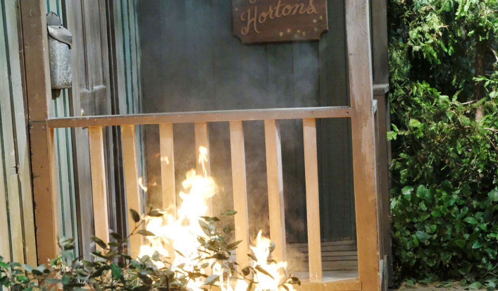 claire sets fire to horton cabin on days of our lives