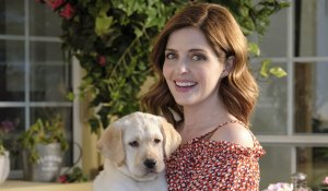 Jen Lilley and puppy in Love Unleashed