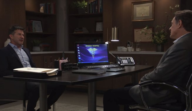 Neil visits Kevin's office on General Hospital
