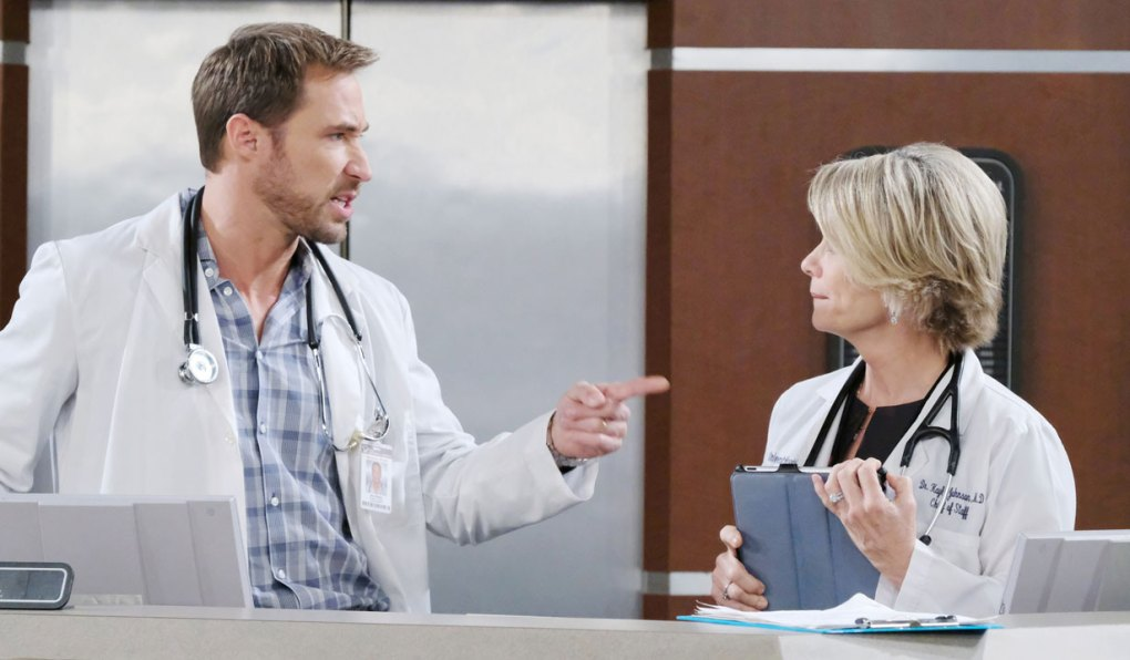 rex points at kayla at hospital on days of our lives