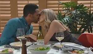 Abby and Nate kiss at dinner Young and Restless