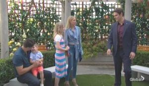 Adam approaches Nick, Sharon and Christian Young and the Restless