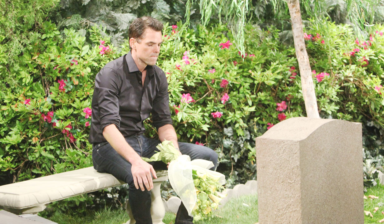 Billy at grave on Young and the Restless