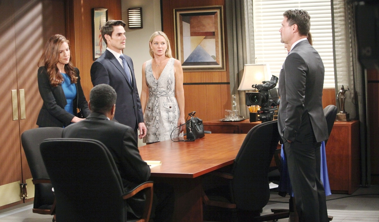 Adam, Sharon, Nick and Victoria custody hearing Young and Restless
