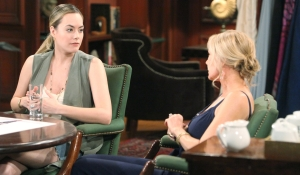 Hope and Brooke talk at work on Bold and Beautiful