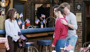 Hope talks to Eric, Sarah and Rex in the pub on Days of our Lives