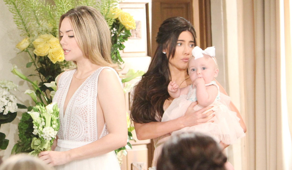 Hope at the altar with Steffy holding Phoebe/Beth Bold and Beautiful