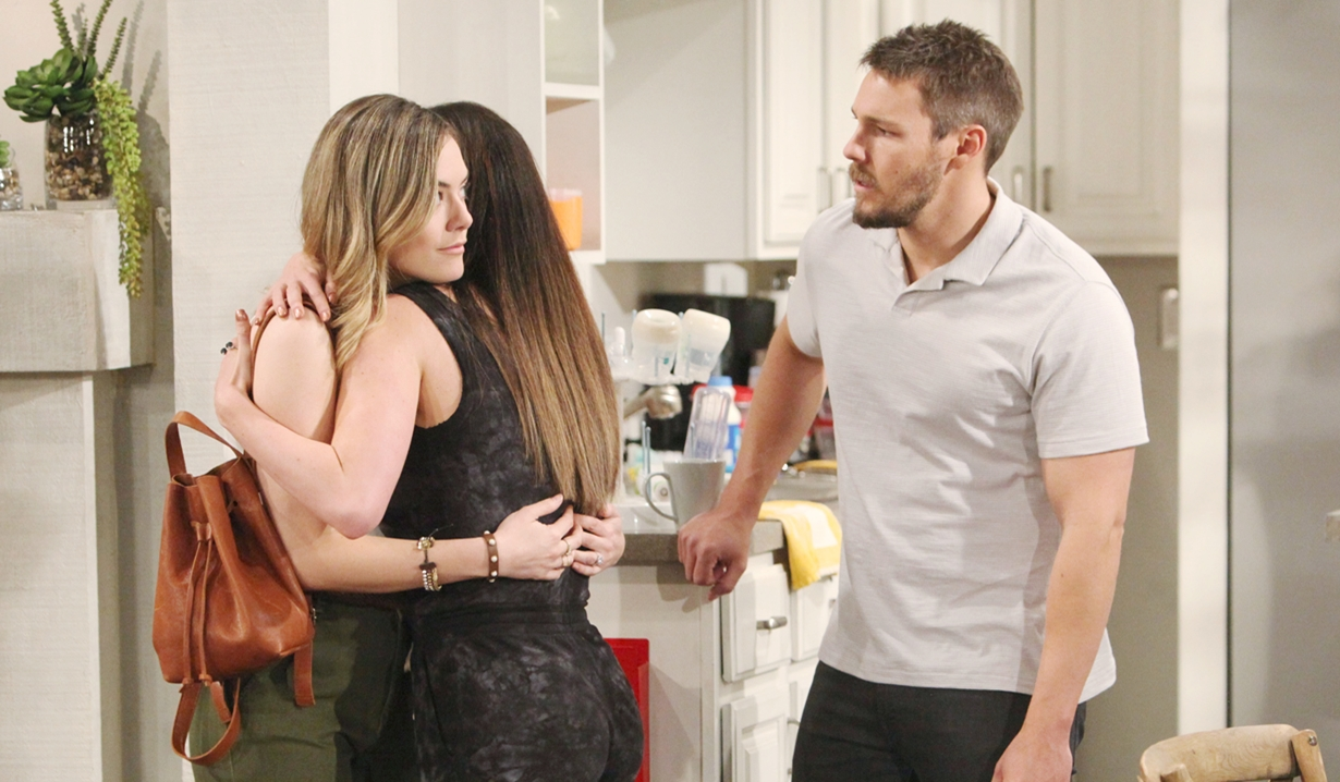Hope hugs Steffy looks at Liam on Bold and Beautiful