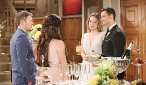 Liam and Steffy talk to Hope and Thomas after wedding Bold and Beautiful