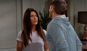 Steffy debates the engagement with Liam on Bold and Beautiful