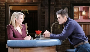 Carrie and Rafe talk in pub on Days of our Lives