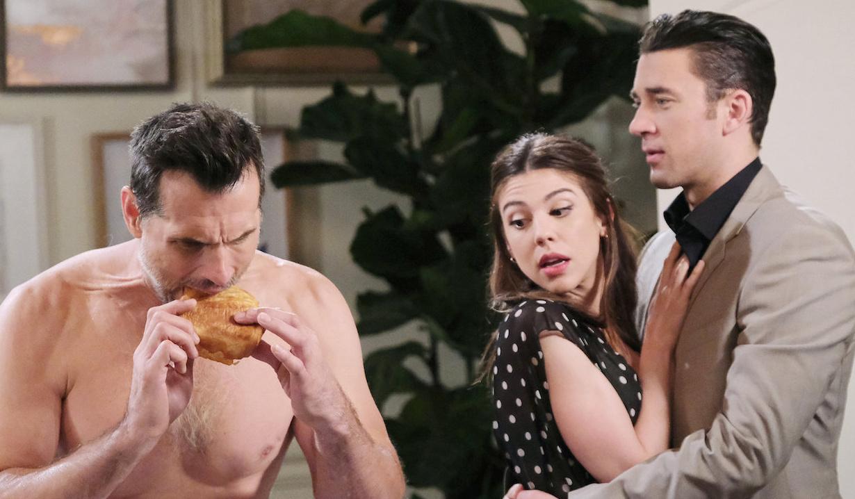 Chad & Abby watch Austin eat their croissant in Paris