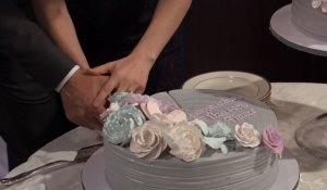 liz and franco cut wedding cake on general hospital